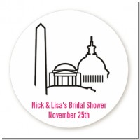 Washington DC Skyline - Round Personalized Bridal Shower Sticker Labels