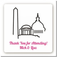 Washington DC Skyline - Square Personalized Bridal Shower Sticker Labels