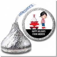 Sleigh Ride Boy - Hershey Kiss Christmas Sticker Labels