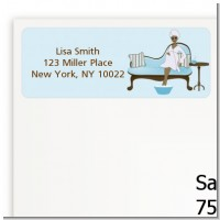 Spa Mom Blue African American - Baby Shower Return Address Labels