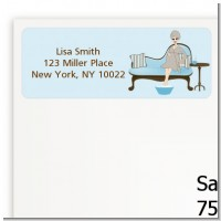 Spa Mom Blue - Baby Shower Return Address Labels