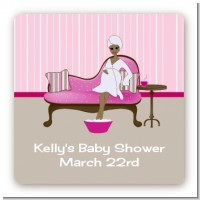 Spa Mom Pink African American - Square Personalized Baby Shower Sticker Labels
