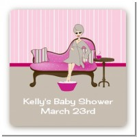 Spa Mom Pink - Square Personalized Baby Shower Sticker Labels