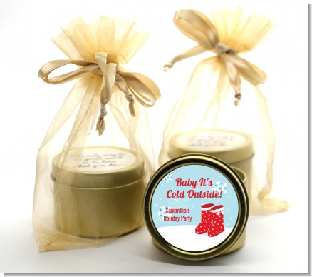Snow Boots - Christmas Gold Tin Candle Favors