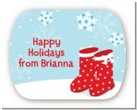 Snow Boots - Personalized Christmas Rounded Corner Stickers