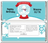 Snow Globe Winter Wonderland - Personalized Birthday Party Candy Bar Wrappers