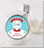Snow Globe Winter Wonderland - Personalized Birthday Party Candy Jar