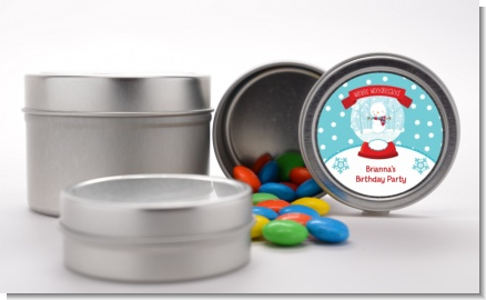 Snow Globe Winter Wonderland - Custom Birthday Party Favor Tins