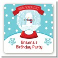 Snow Globe Winter Wonderland - Square Personalized Birthday Party Sticker Labels thumbnail