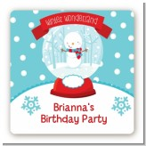 Snow Globe Winter Wonderland - Square Personalized Birthday Party Sticker Labels