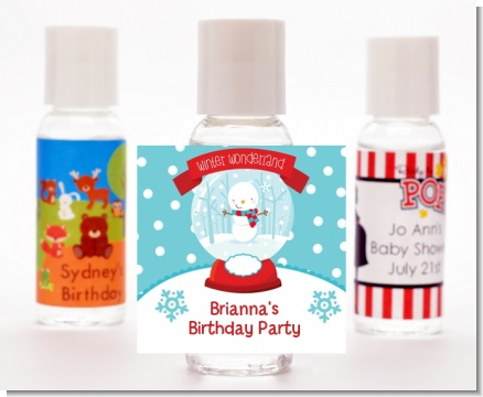Snow Globe Winter Wonderland - Personalized Birthday Party Hand Sanitizers Favors