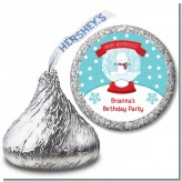 Snow Globe Winter Wonderland - Hershey Kiss Birthday Party Sticker Labels