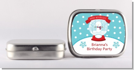 Snow Globe Winter Wonderland - Personalized Birthday Party Mint Tins
