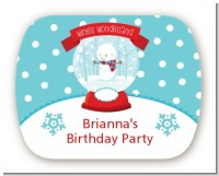Snow Globe Winter Wonderland - Personalized Birthday Party Rounded Corner Stickers