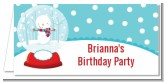 Snow Globe Winter Wonderland - Personalized Birthday Party Place Cards