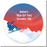 Snowboard - Round Personalized Birthday Party Sticker Labels