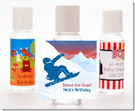 Snowboard - Personalized Birthday Party Hand Sanitizers Favors