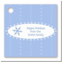 Snowflake Blue - Personalized Christmas Card Stock Favor Tags
