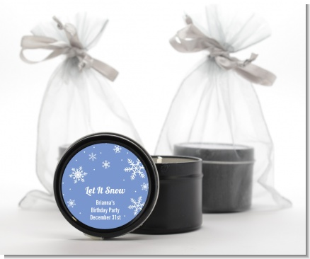 Snowflakes - Birthday Party Black Candle Tin Favors