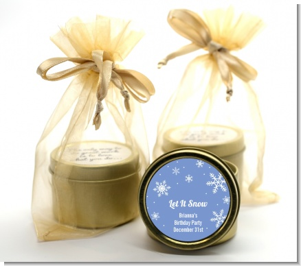 Snowflakes - Birthday Party Gold Tin Candle Favors