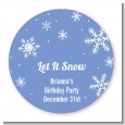 Snowflakes - Round Personalized Birthday Party Sticker Labels thumbnail