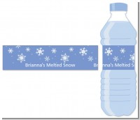 Snowflakes - Personalized Birthday Party Water Bottle Labels
