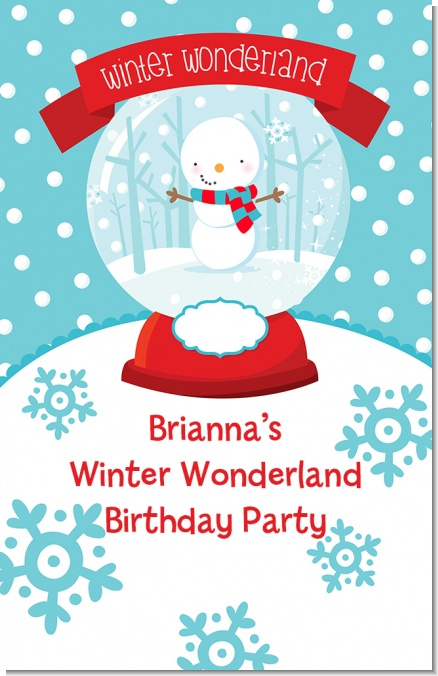 Snow Globe Winter Wonderland - Personalized Birthday Party Wall Art