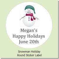 Snowman - Round Personalized Christmas Sticker Labels
