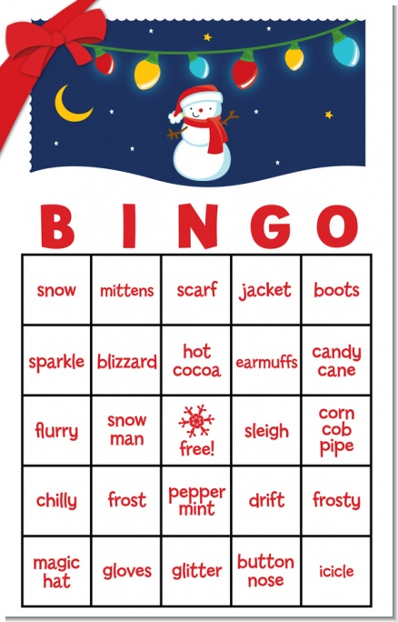Snowman Family with Lights Free Christmas Bingo Game