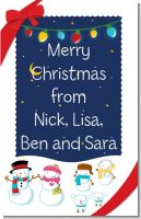 Snowman Family with Lights - Personalized Christmas Wall Art