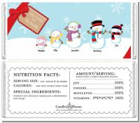 Snowman Family with Snowflakes - Personalized Christmas Candy Bar Wrappers