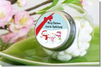 Snowman Family with Snowflakes - Personalized Christmas Candy Jar