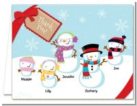 Snowman Family with Snowflakes - Christmas Thank You Cards