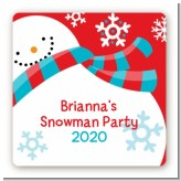 Snowman Fun - Square Personalized Christmas Sticker Labels