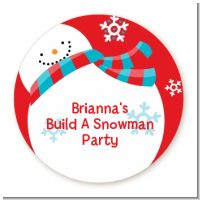 Snowman Fun - Round Personalized Christmas Sticker Labels