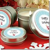Snowman Snow Scene - Christmas Candle Favors