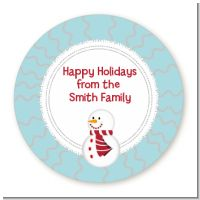 Snowman Snow Scene - Round Personalized Christmas Sticker Labels