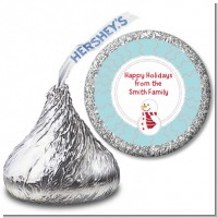 Snowman Snow Scene - Hershey Kiss Christmas Sticker Labels