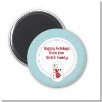 Snowman Snow Scene - Personalized Christmas Magnet Favors