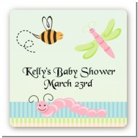 Snug As a Bug - Square Personalized Baby Shower Sticker Labels