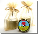 Soccer - Birthday Party Gold Tin Candle Favors