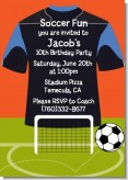 Soccer Jersey Black and Blue - Birthday Party Invitations
