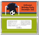Soccer Jersey Black and Blue - Personalized Birthday Party Candy Bar Wrappers