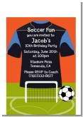 Soccer Jersey Black and Blue - Birthday Party Petite Invitations