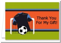 Soccer Jersey Black and Blue - Birthday Party Thank You Cards
