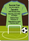 Soccer Jersey Green and Blue - Birthday Party Invitations