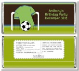 Soccer Jersey Green and Blue - Personalized Birthday Party Candy Bar Wrappers