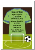 Soccer Jersey Green and Blue - Birthday Party Petite Invitations