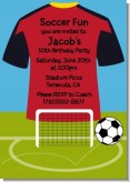 Soccer Jersey Red and Black - Birthday Party Invitations