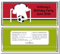 Soccer Jersey White, Red and Black - Personalized Birthday Party Candy Bar Wrappers